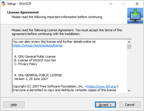 ACCEPT THE LICENSE AGREEMENT OF WINSCP CLIENT