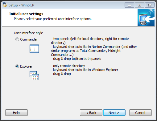 INSTALL AS COMMANDER USER INTERFACE STYLE