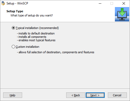 WINSCP TYPICAL INSTALLATION